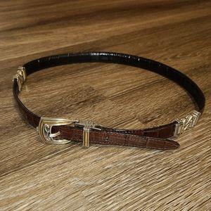 Vintage 90s Brown Black Reversible Metal Belt